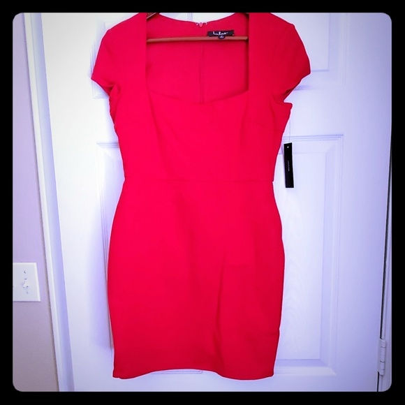 Lulu's Dresses & Skirts - Lulus Frederica Red Square Neck Bodycon